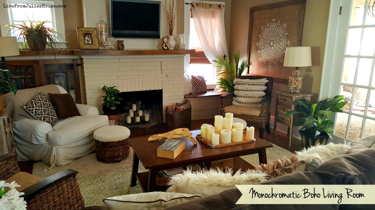 monochromatic boho living room live from julie 39 s house